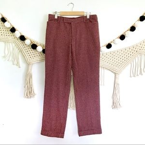 NANETTE LEPORE Burgundy Tweed Cuff Ankle Pants